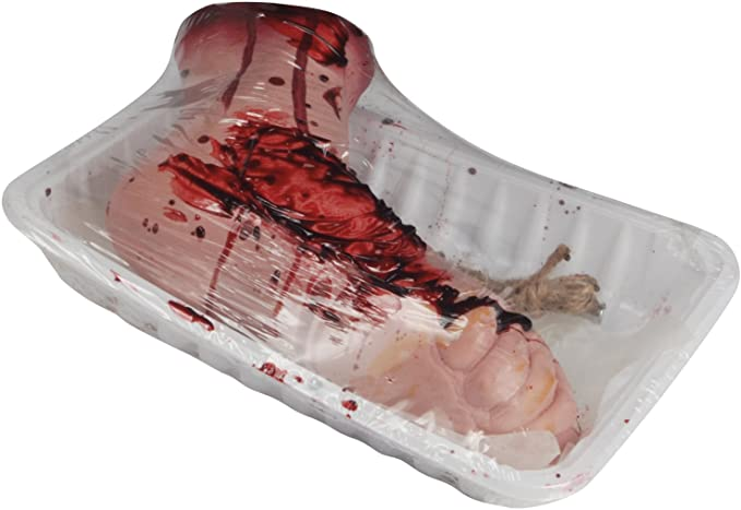 BLOODY FOOT IN BUTCHER TRAY