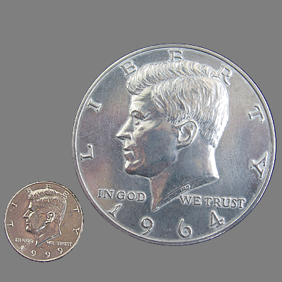 GIANT 3-INCH KENNEDY HALF-DOLLAR