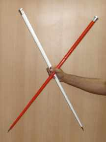 VANISHING CANE--STAINLESS STEEL, RED