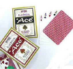 PLAYING CARDS--ACE, POKER--RED