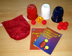 CUPS & BALLS / CHOP CUP COMBO--RED, WHITE & BLUE