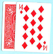 BICYCLE GAFF--14 OF DIAMONDS, POKER--RED