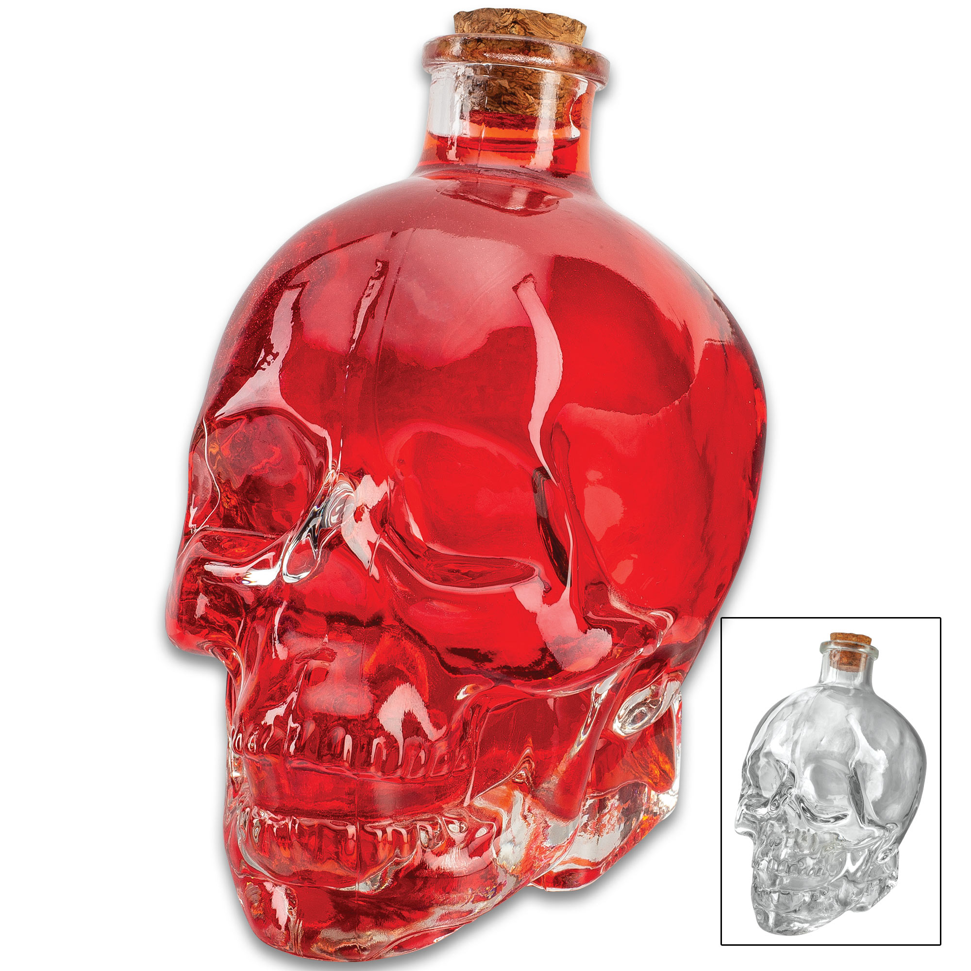 GLASS SKULL BOTTLE W/CORK STOPPER